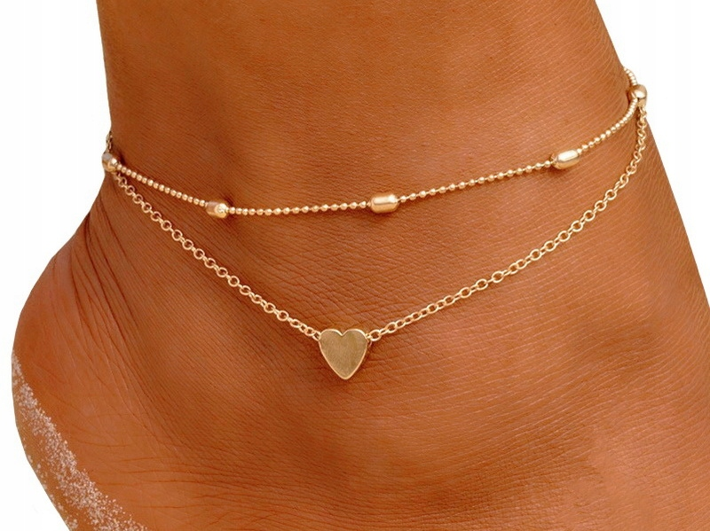 Item M199 Golden chain Anklet Foot Cubes HEART