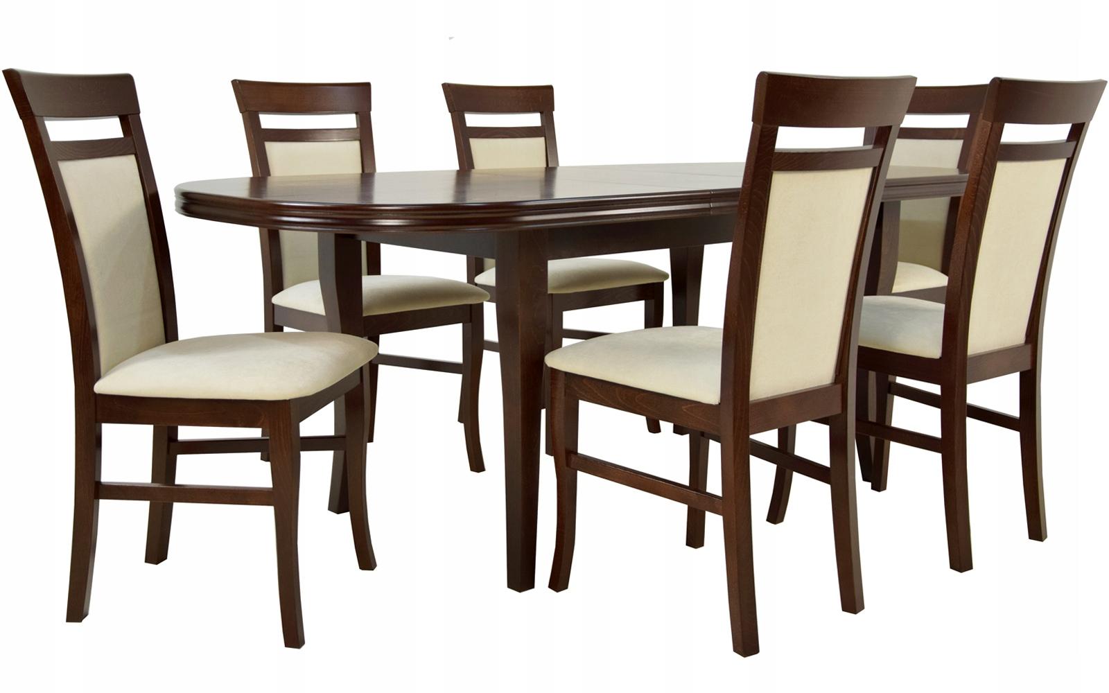 Купить Комплект Комнатный деревянный стол и 6 СТУЛЬЕВ ОРЕХ на Otpravka - цены и фото - доставка из Польши и стран Европы в Украину.