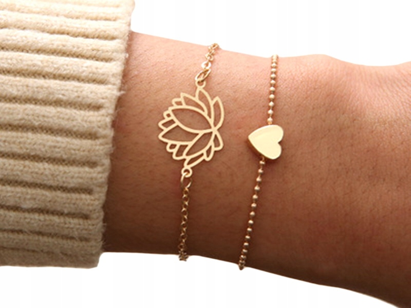 Item M135 Gold Bracelet 2 in 1 Set Heart Flower