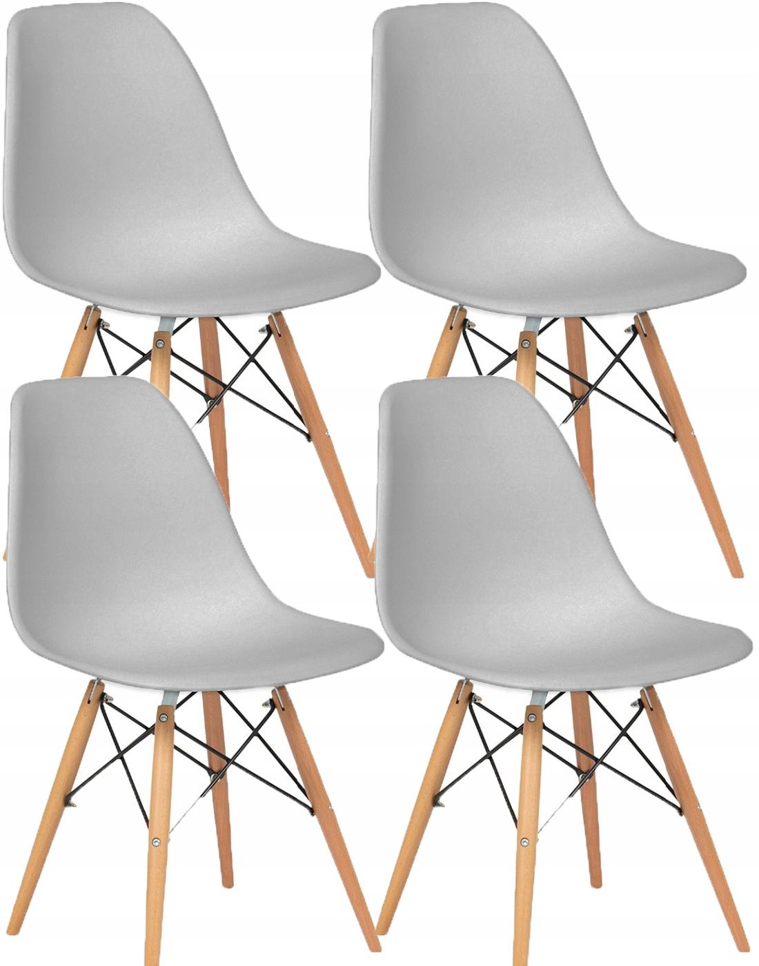 4x Sivá DSW Stoličky Biele Plastové Interiérové Jadaln