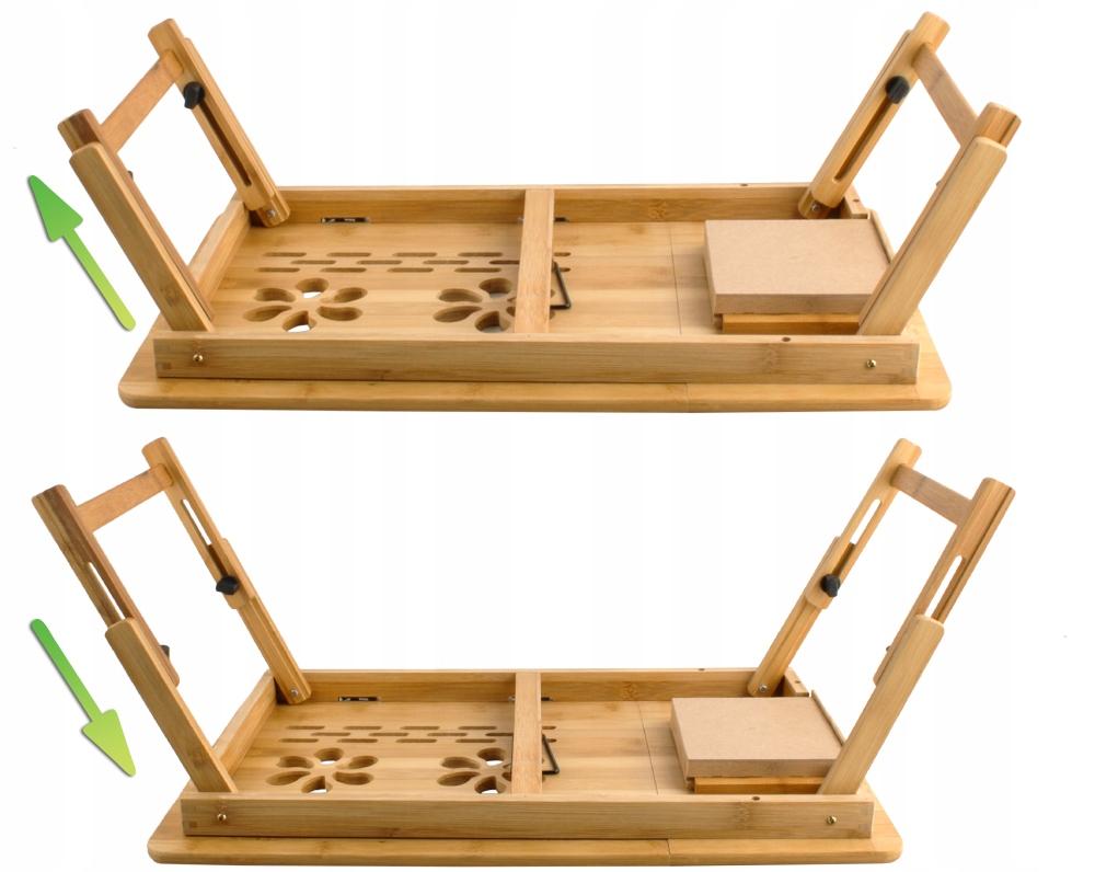 Stolik pod Laptopa do Łóżka Regulowany Drewniany Waga produktu z opakowaniem jednostkowym 2.55 kg