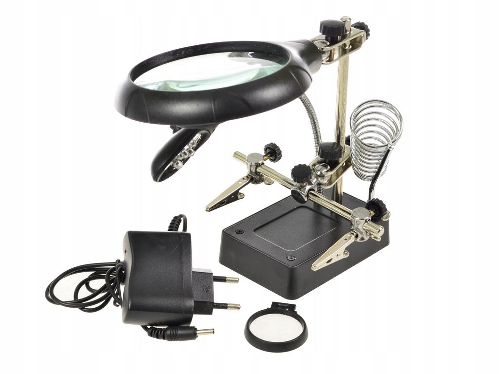 Rukoväť lupy z tretej ruky 3x LED ZD-126-3