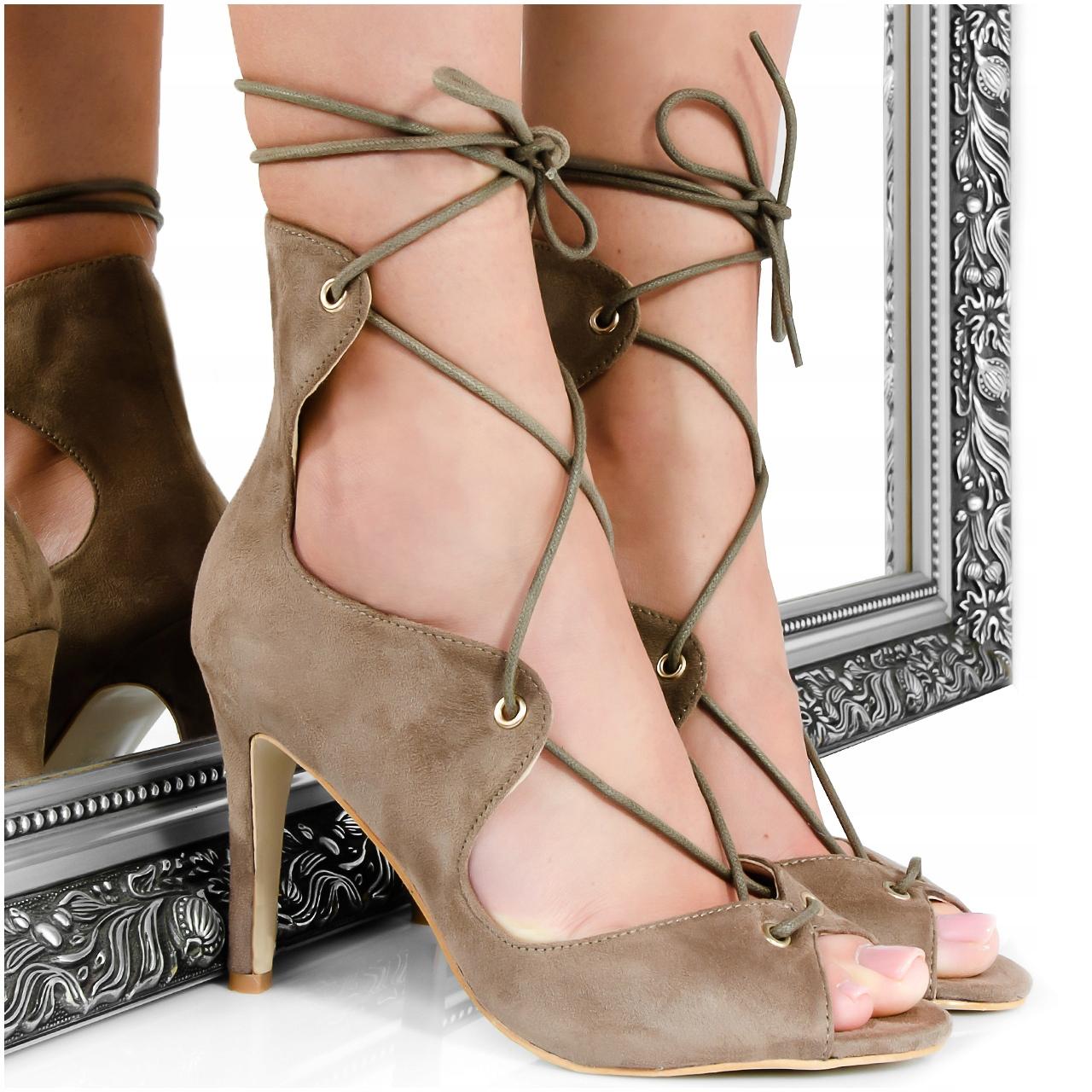 Brązowe Sandały - Wiązane Szpilki - Peep Toe 40