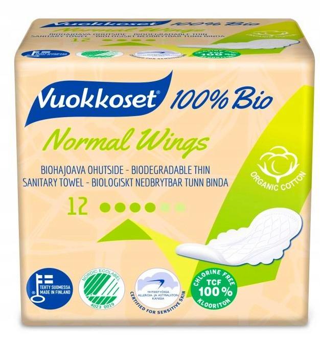 VUOKKOSET 100% БИО гигиенические Прокладки не хлорированного NORMAL