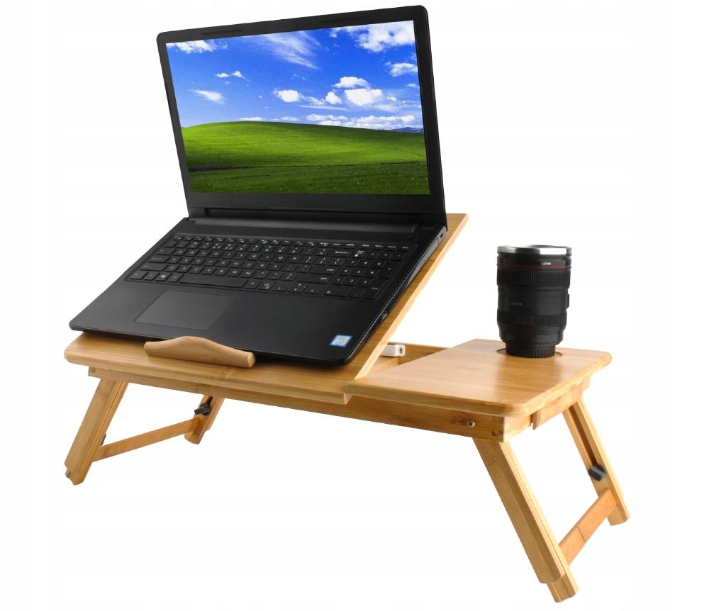 Stolik pod Laptopa do Łóżka Regulowany Drewniany Kod producenta 7974