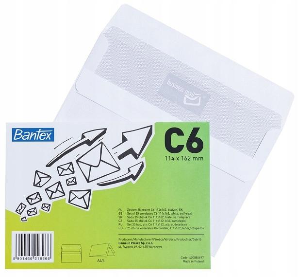 Конверты предметы пленка C6 25шт. Bantex