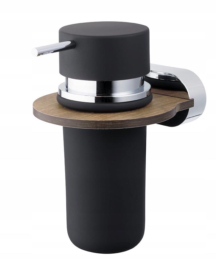 Dávkovač tekutého mydla čierny / drevený / chróm