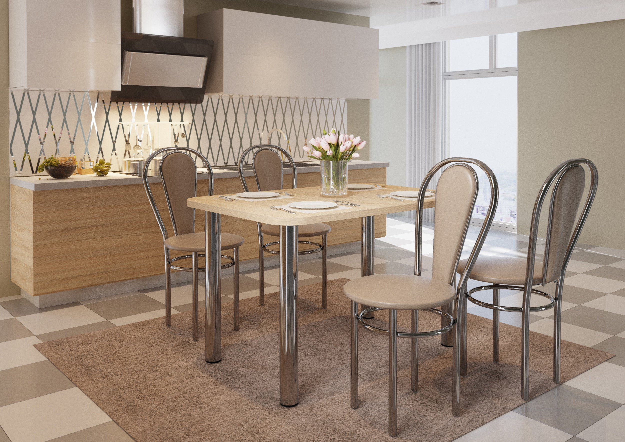 100x65cm stôl+4x stolička Tulip plus