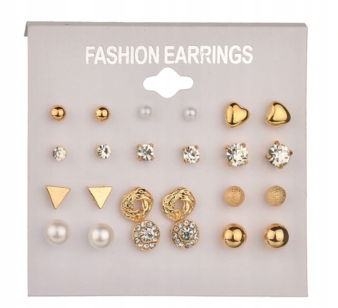 Item Z93 Earrings SET of 12 Balls Beads Pearls, cubic Zirconia