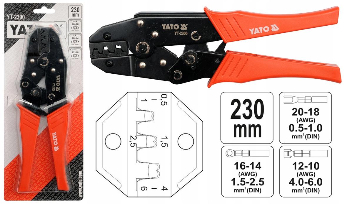ZLOMOVACIE ZARIADENIE PRE KONEKTORY 0,5 až 6 mm YATO YT-2300