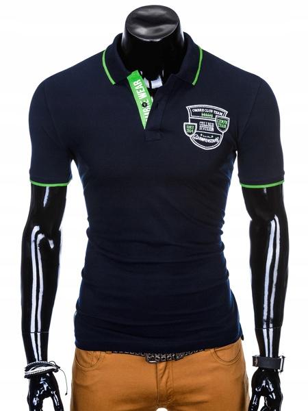 OMBRE Męska Koszulka Polo Kołnierzyk Granatowa XL