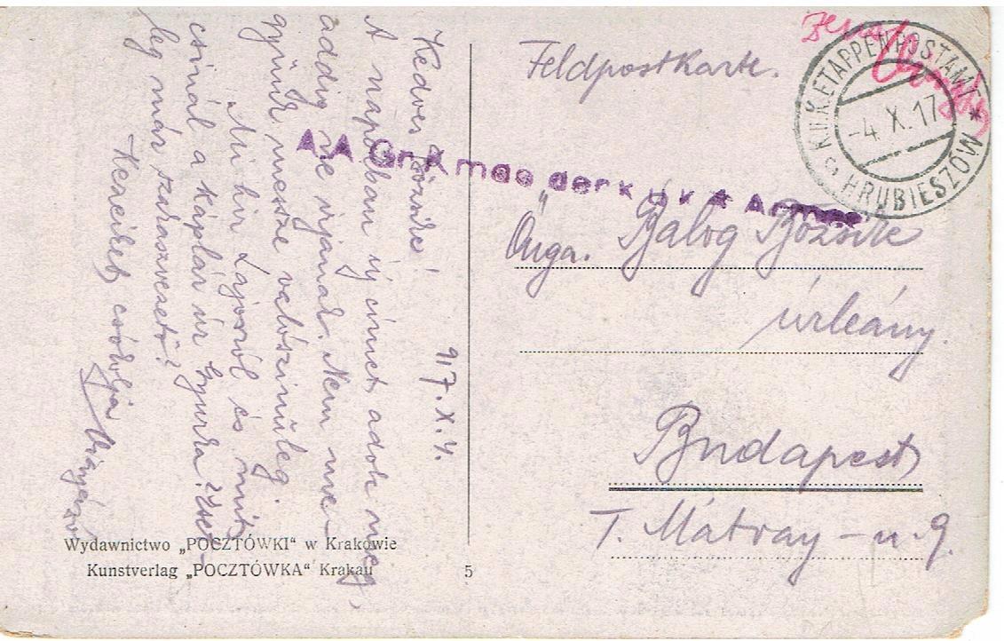 Hrubieszów - Austro-Węgierska Poczta Polowa - 1917