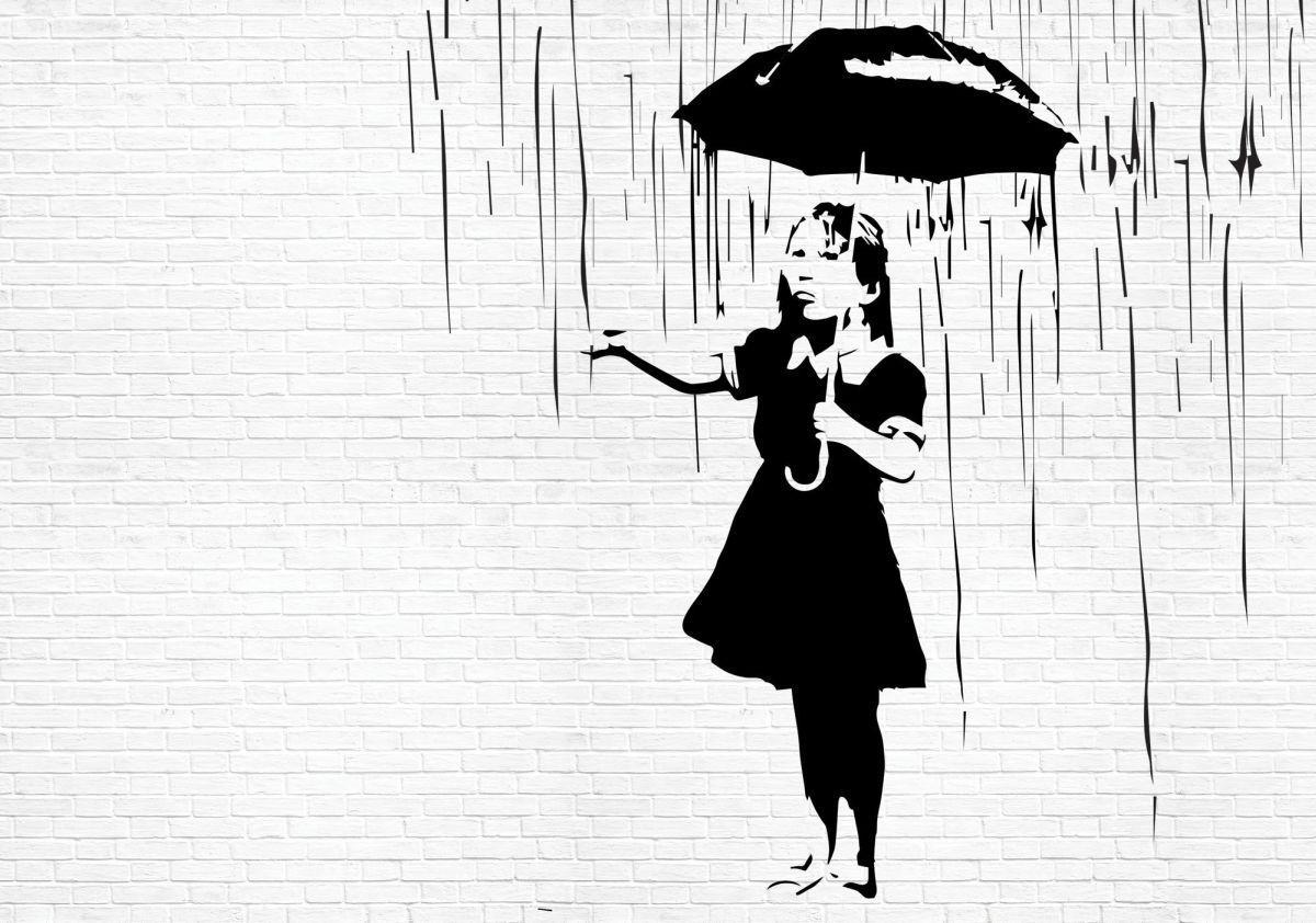 Fototapety 208x146 Dziewczynka Z Parasolem Banksy