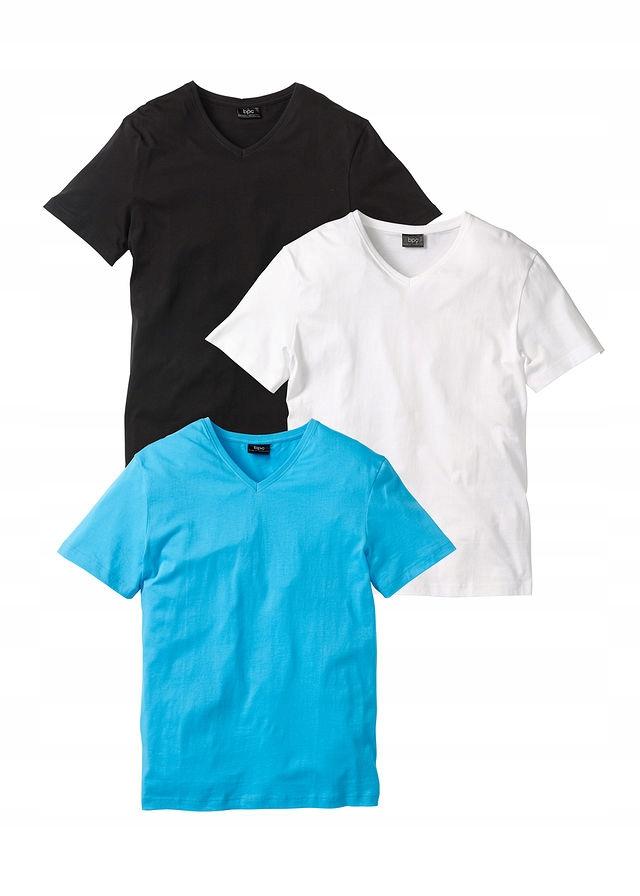 T-shirt z dekoltem w ser biały 60/62 (XXL) 935942