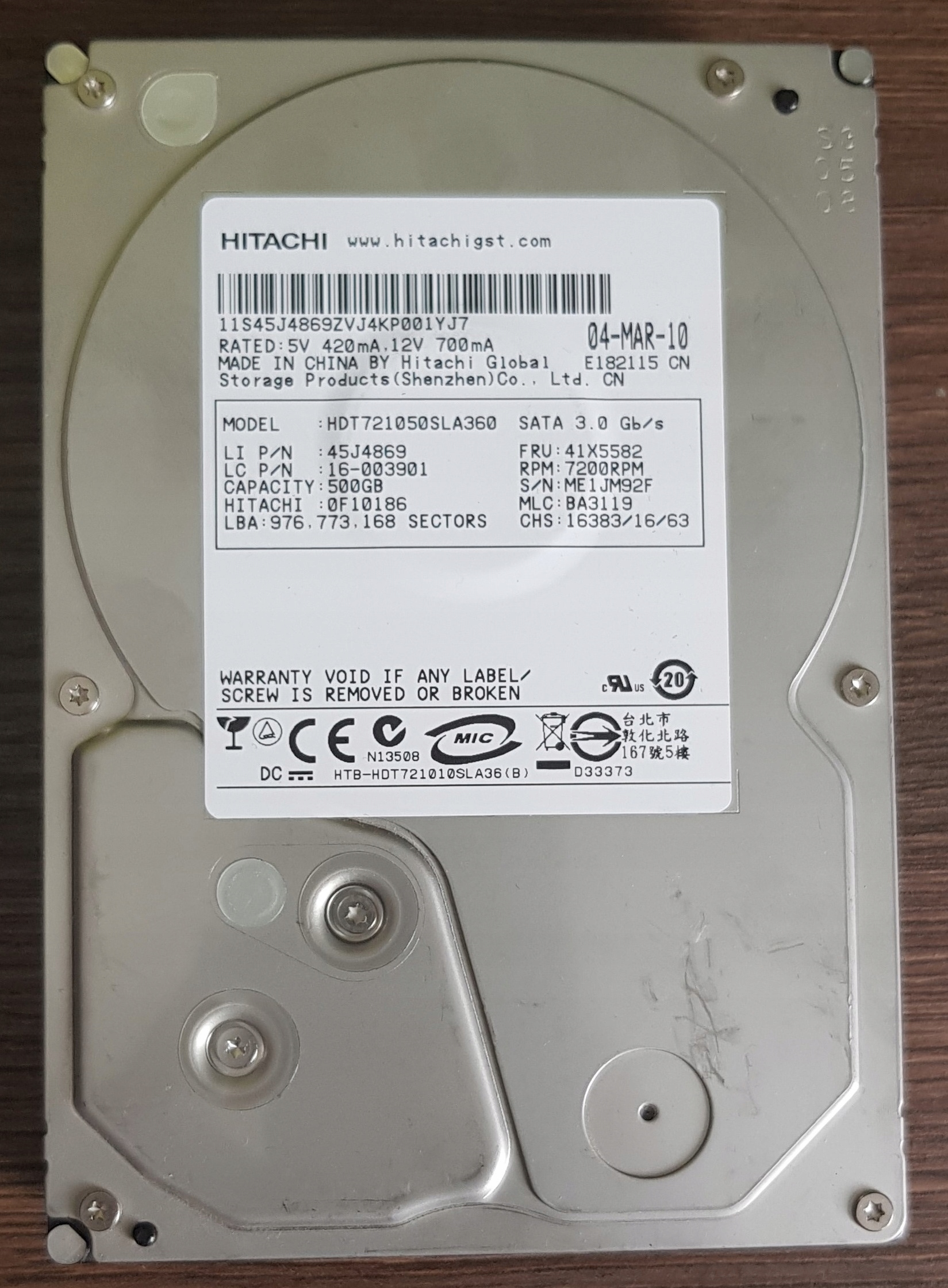 "Dysk HDD HITACHI 500GB 3,5"" 16MB Cache 7200"