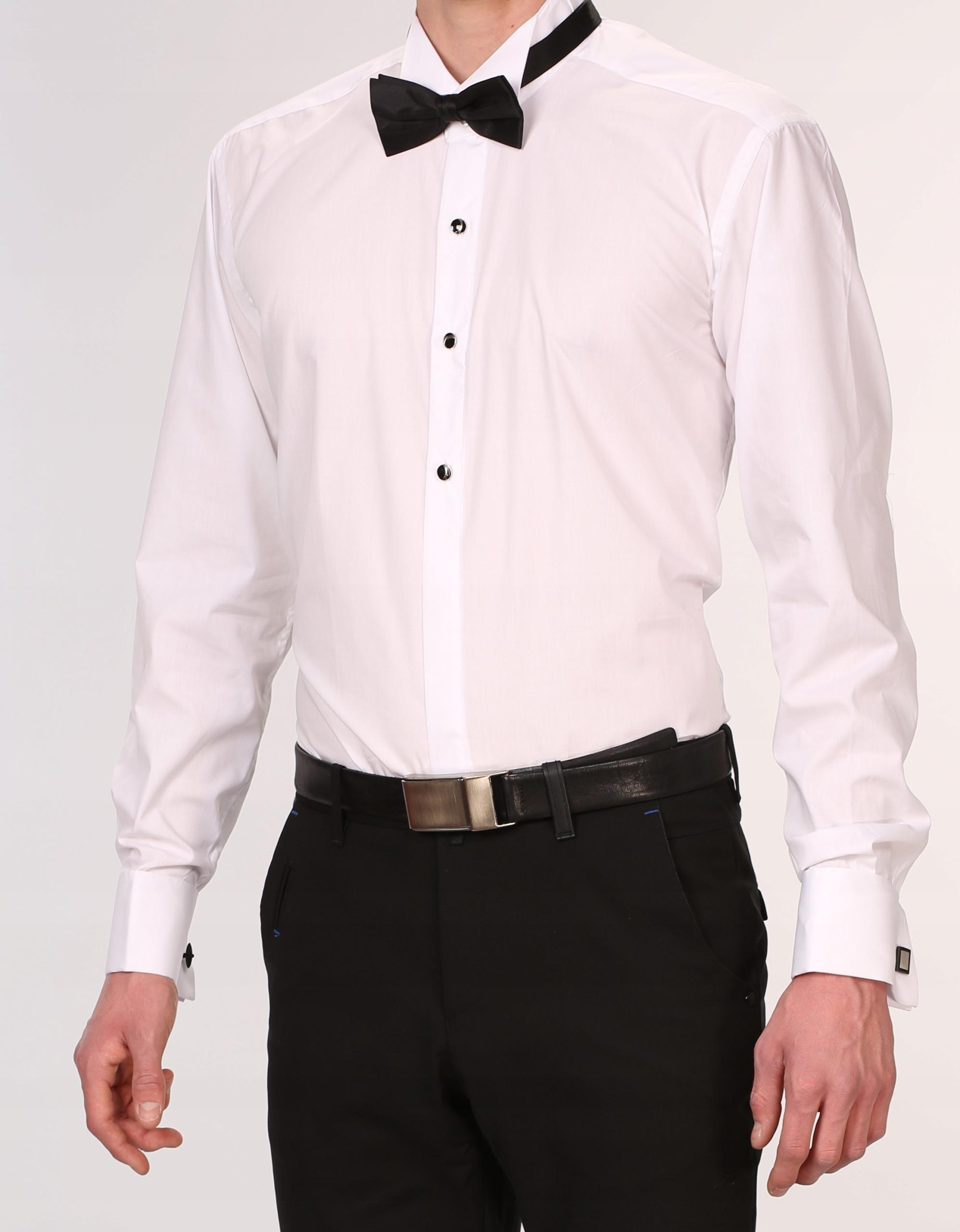 KOSZULA męska biała DO MUCHY 3XL mankiet na SPINKI