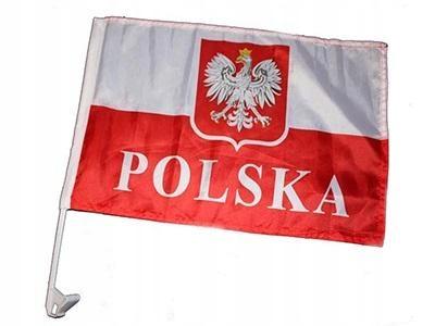 FLAGA NA SZYBĘ SAMOCHODU OKNO POLSKA GODŁO CHWYT