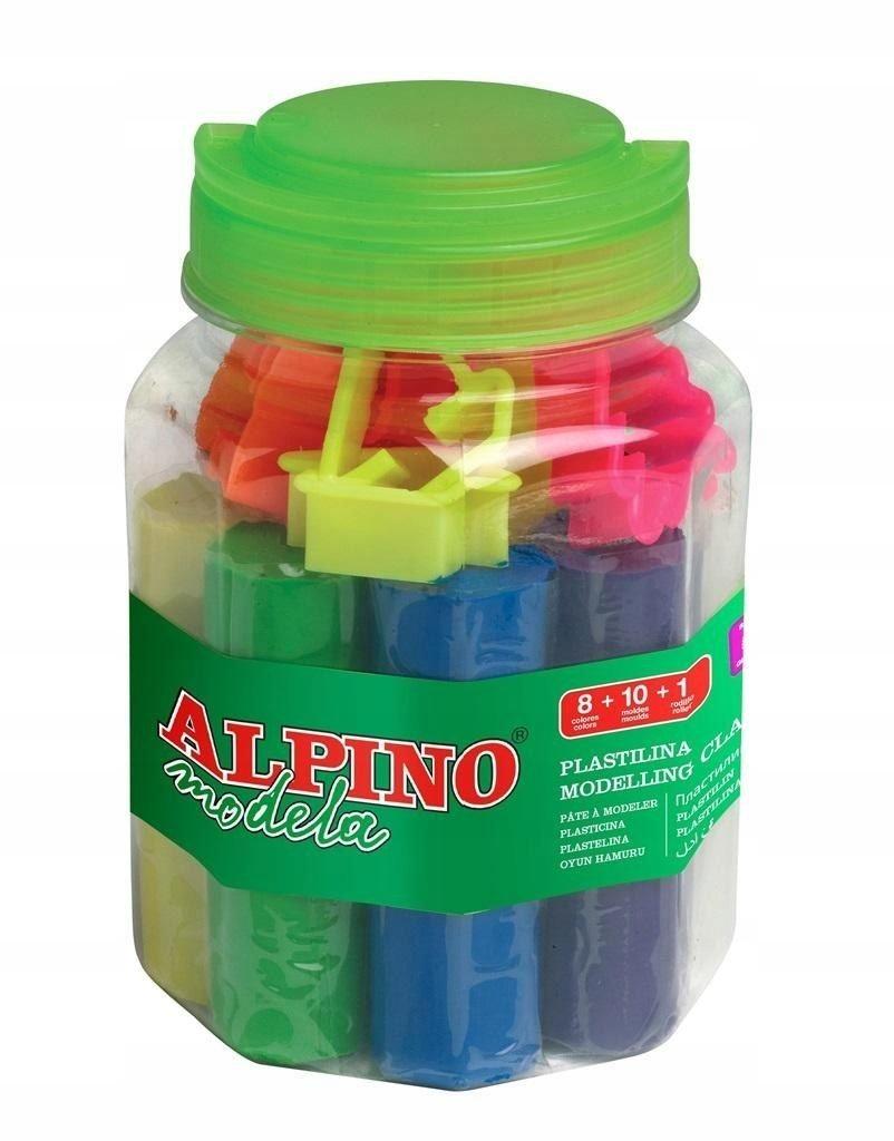 Plastelina 8 kolorów + foremki + wałeczek ALPINO