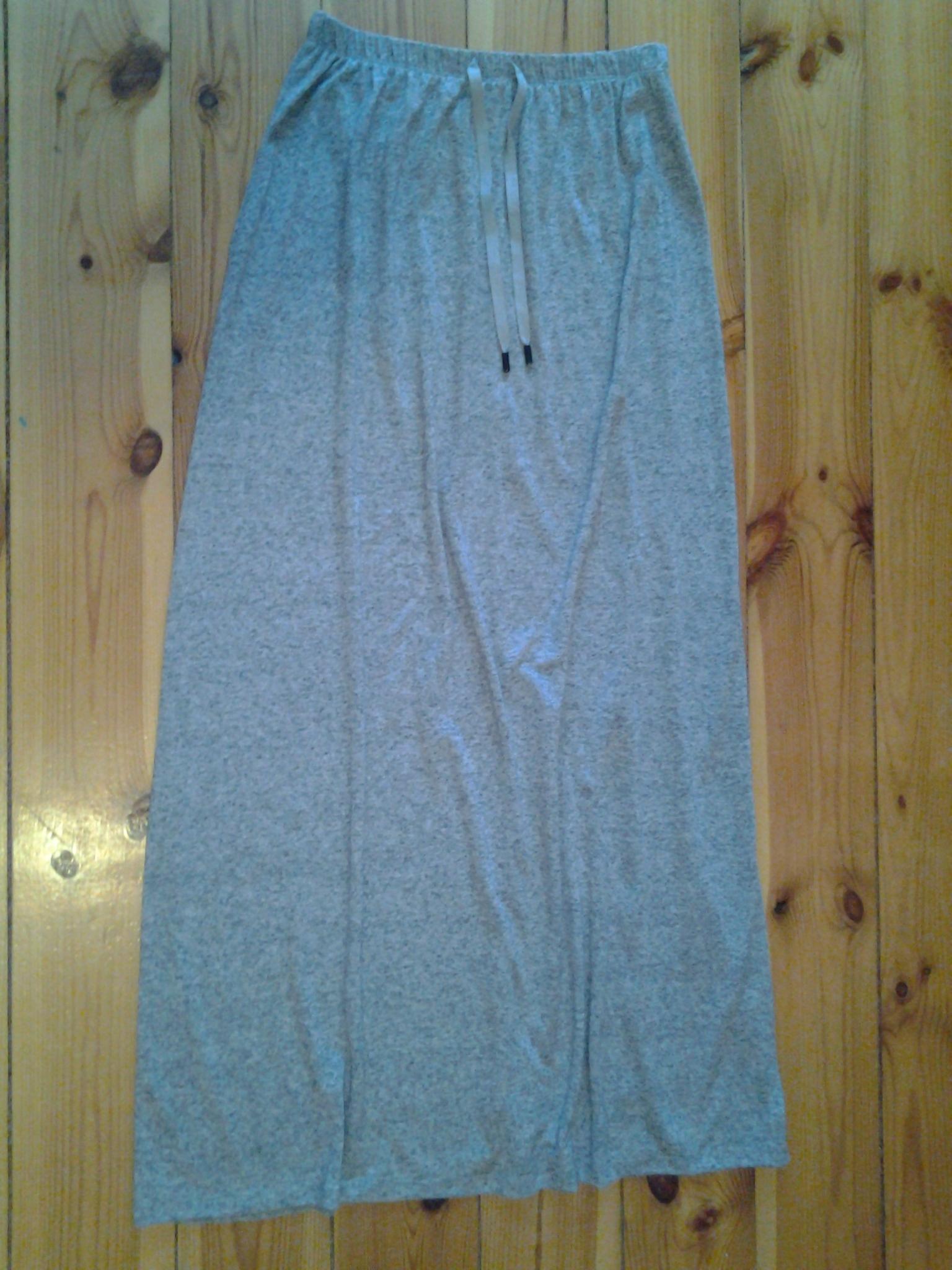 Bershka długa spódnica dresowa szara melanż gumka