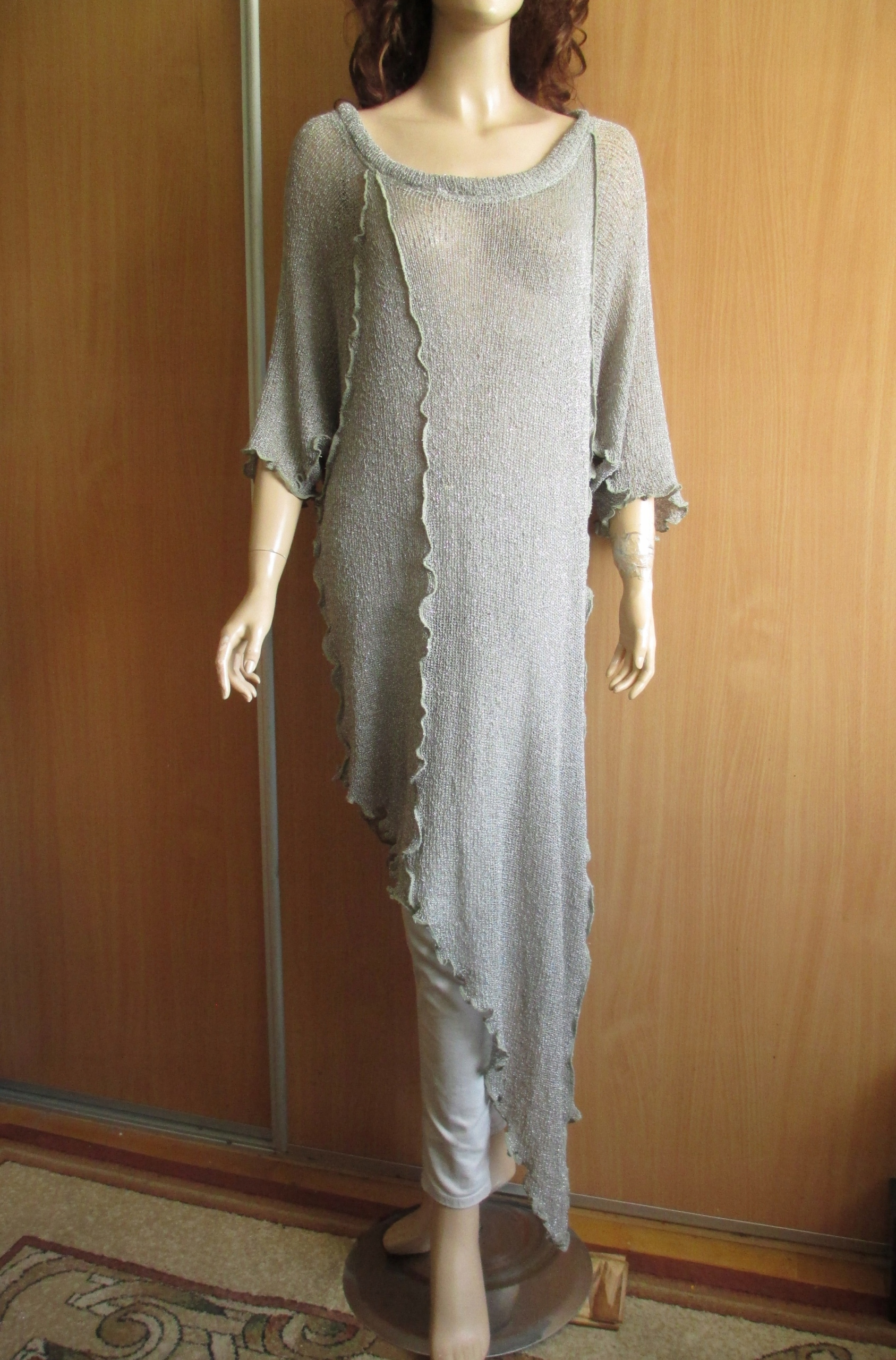 ANGEL CIRCLE maxi sweter siatka szary asymetry 42