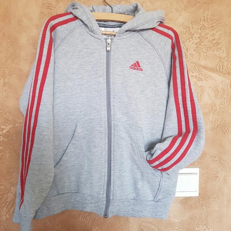 Adidas Bluza Szara Kaptur Zamek 140 9 10 lat logo