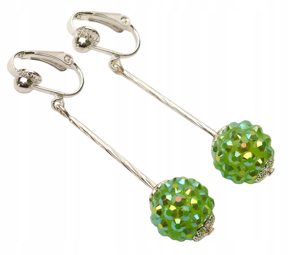 Klipsy wiszące kulki z kryształkami zielone