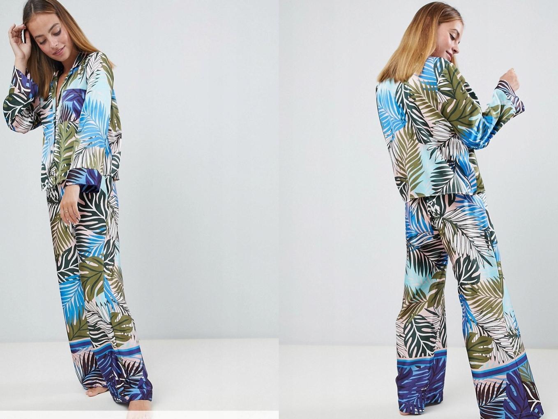 Piżama w satynie z tropikalnym wzorem S/36