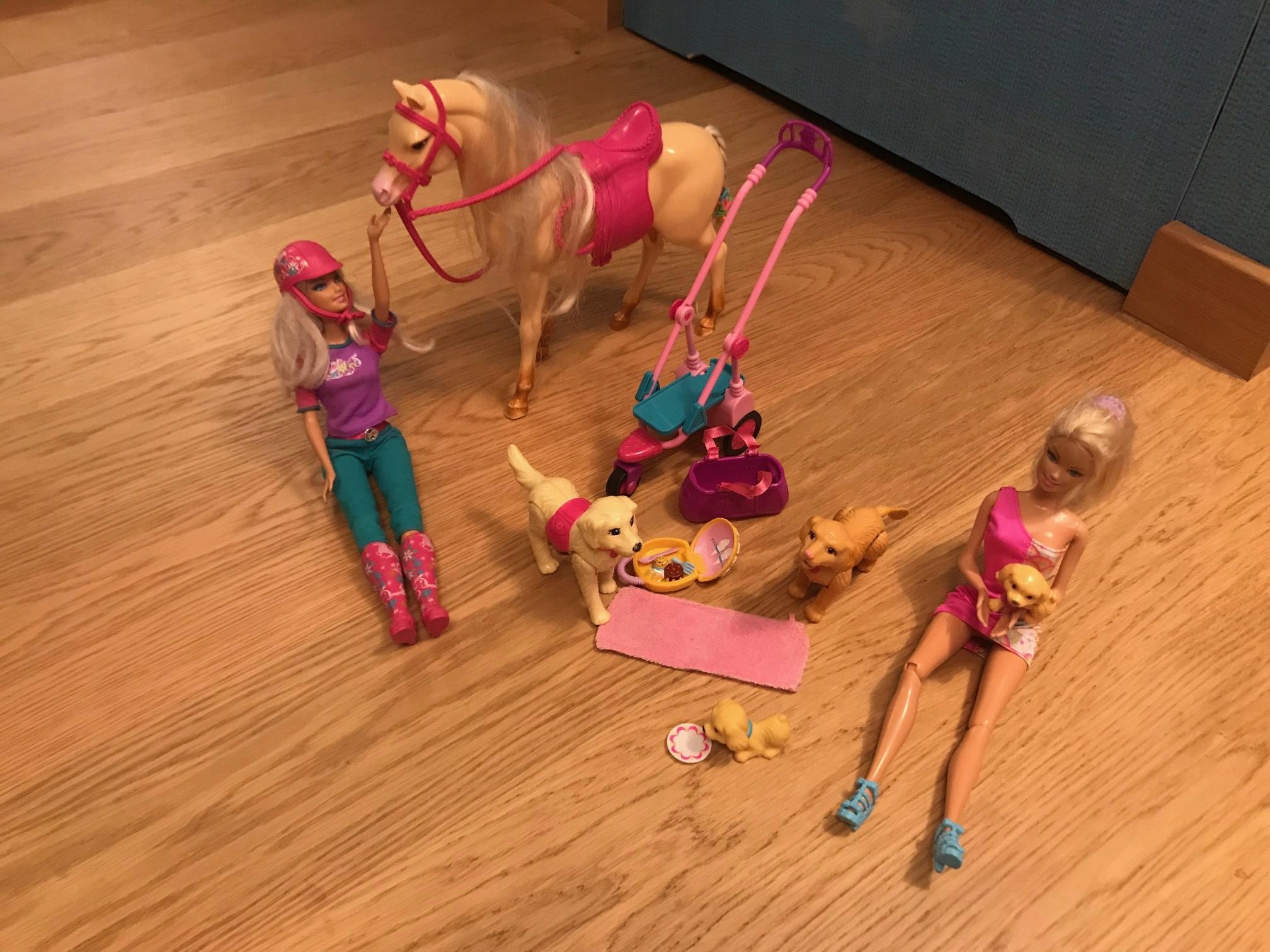 2 Barbie, koń, wózek,szczeniaki i psy-super zestaw