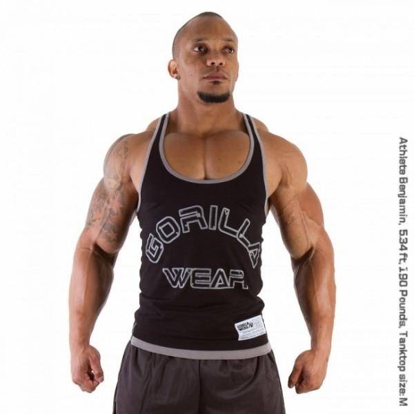 GORILLA WEAR Logo Stringer Tank Top Gym BLACK S