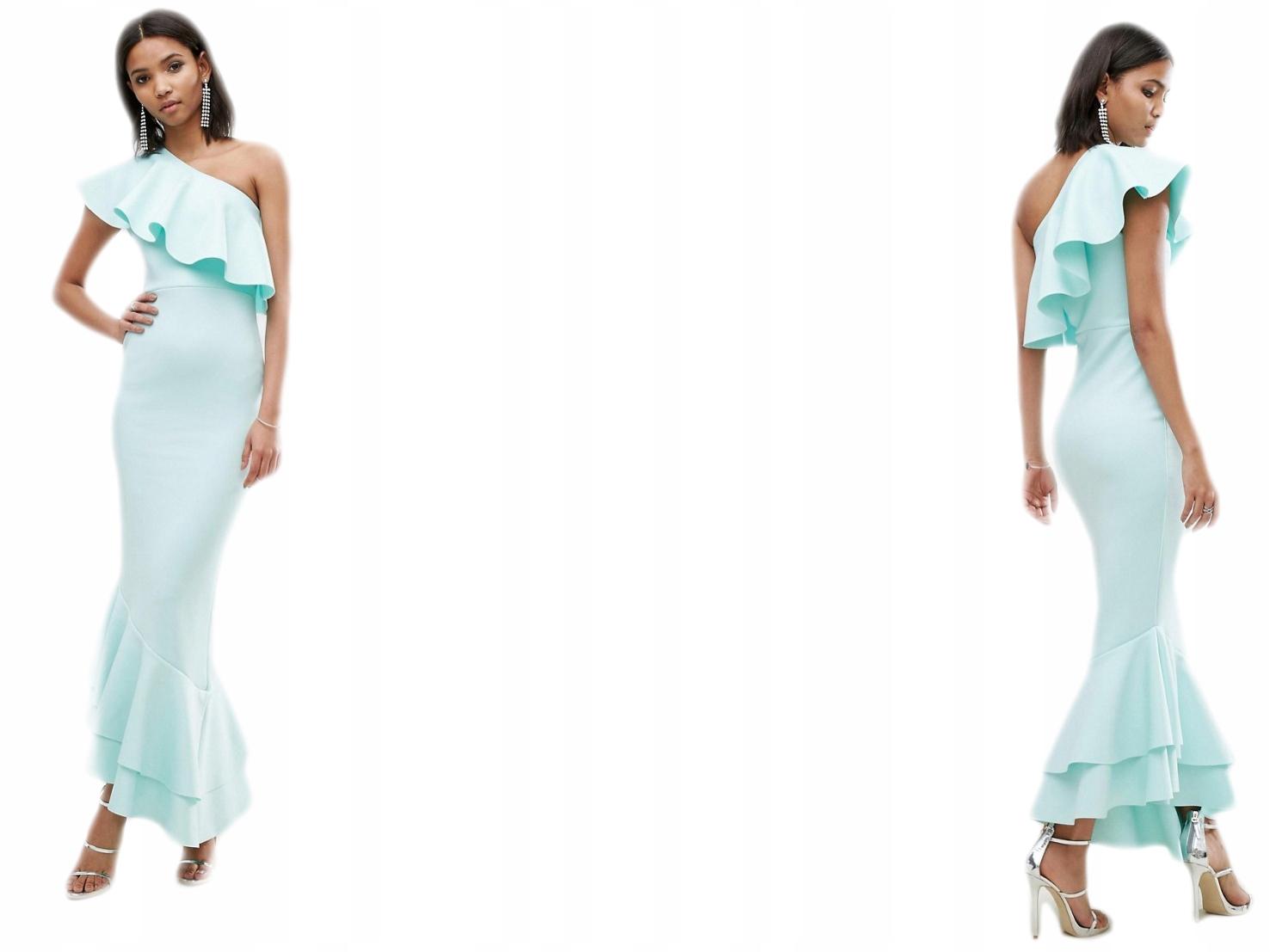 Design-Asymetryczna sukienka z falbanami 32/XXS