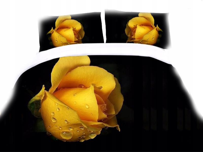 Pościel 3d 220x200 żółty Kwiat Kwiaty Róża Premium 6777640548