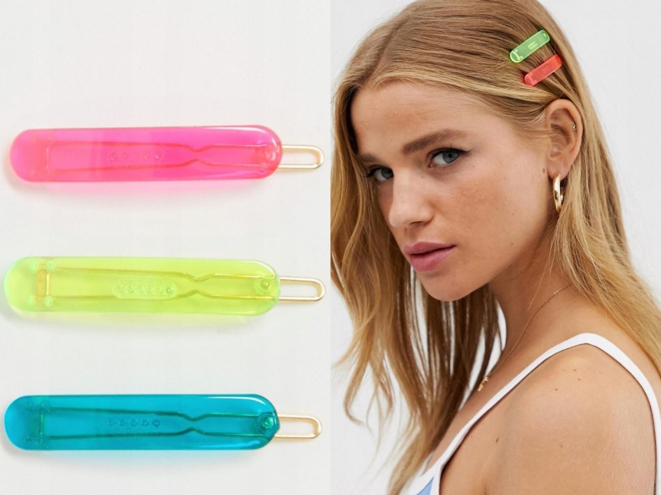 DesignB London Neonowe Spinki do Włosów 3 Pack
