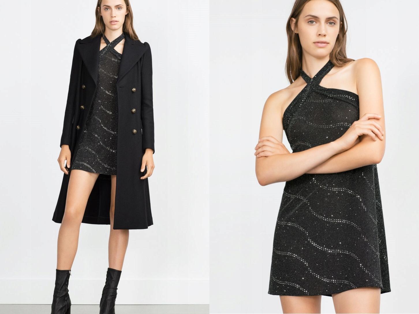 Zara Woman Fantazyjna Czarna Sukienka Mini L/40