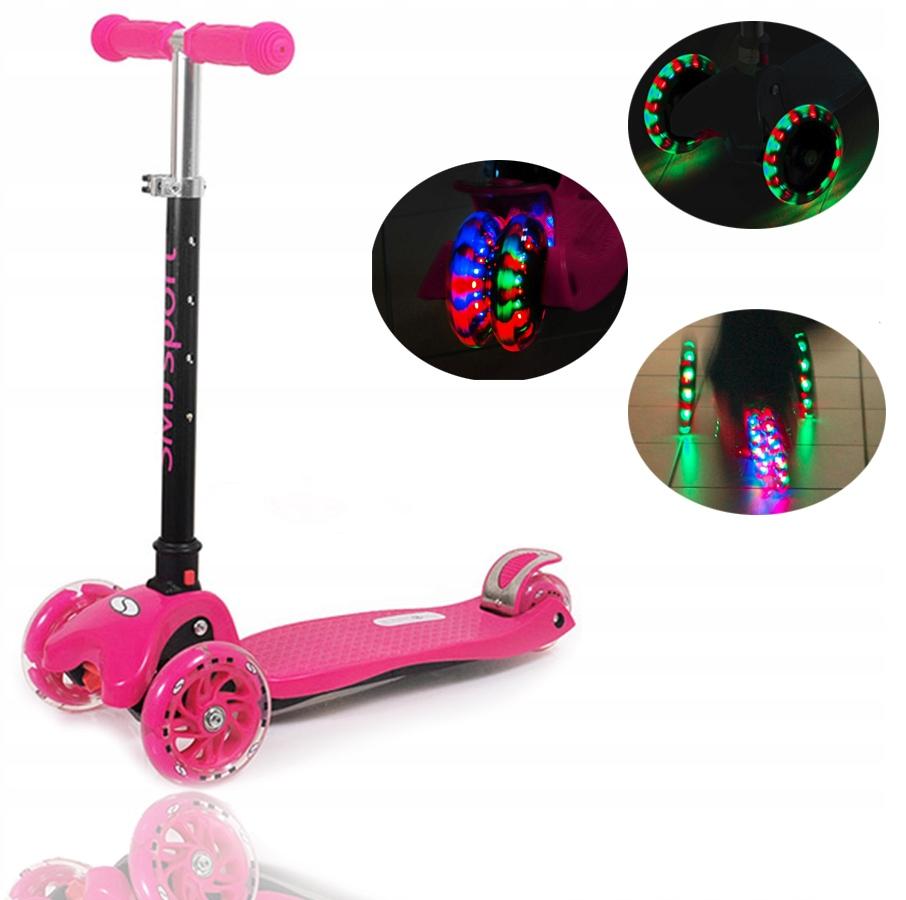 Hulajnoga LED 3-kołowa dziecięca AF-WG05 różowa