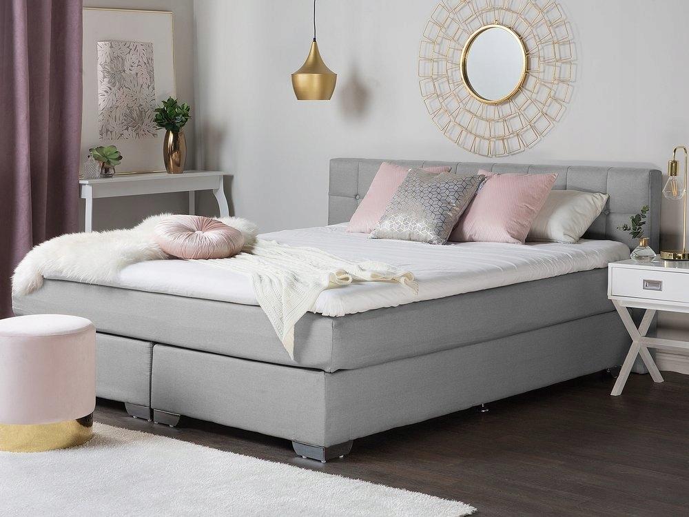 łóżko Kontynentalne Tkanina Szary 180x200 8144584823