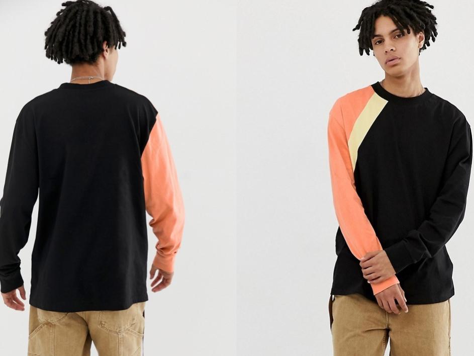 Czarna bluzka z kolorowym rękawem 2XL/44