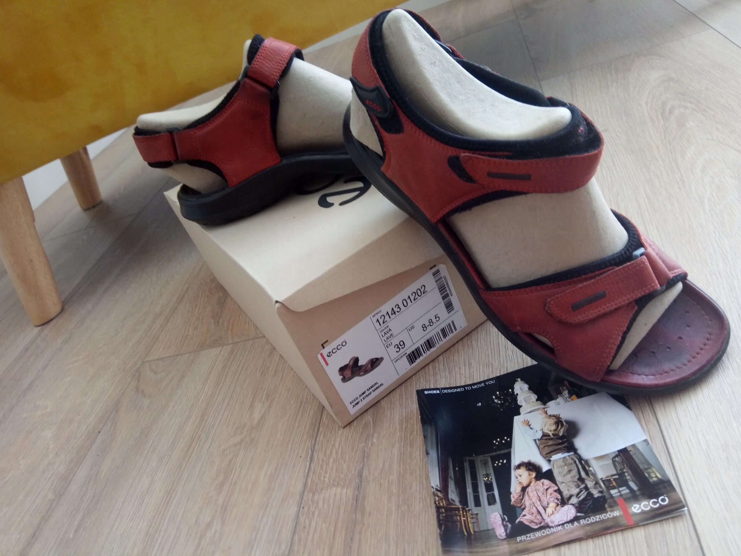 Sandały Ecco Jump 2 czerwone skóra r.39 damskie