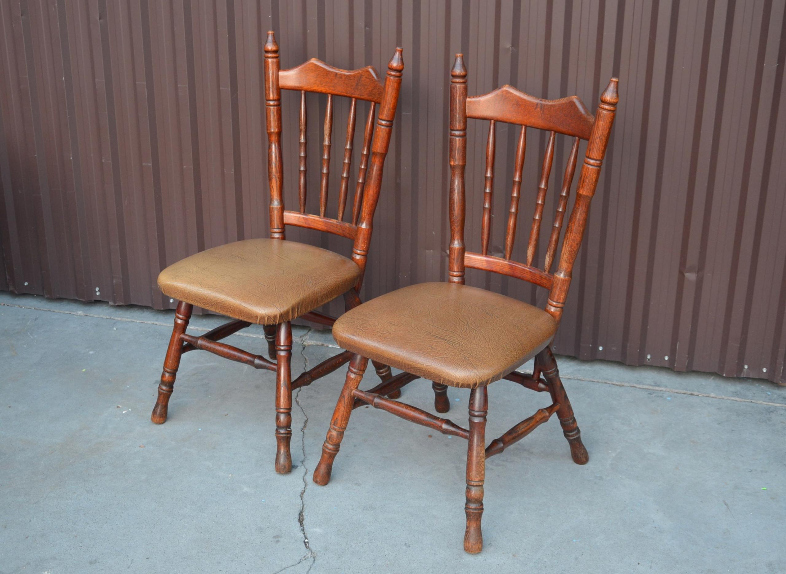 Krzesła Drewniane Stylowe Skórzane Obicie 2szt 7795581314