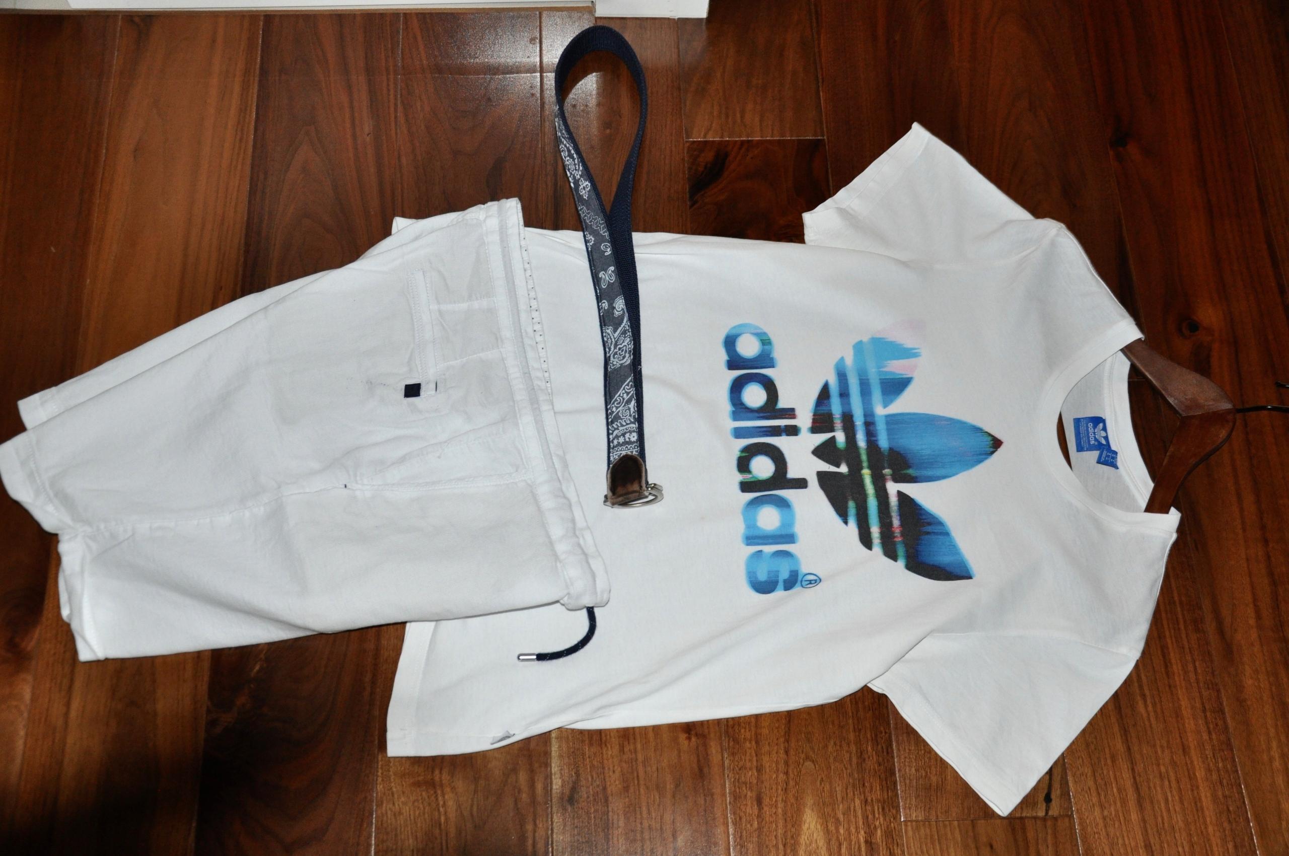 _Spodenki białe Zara + koszulka Adidas r. M/L