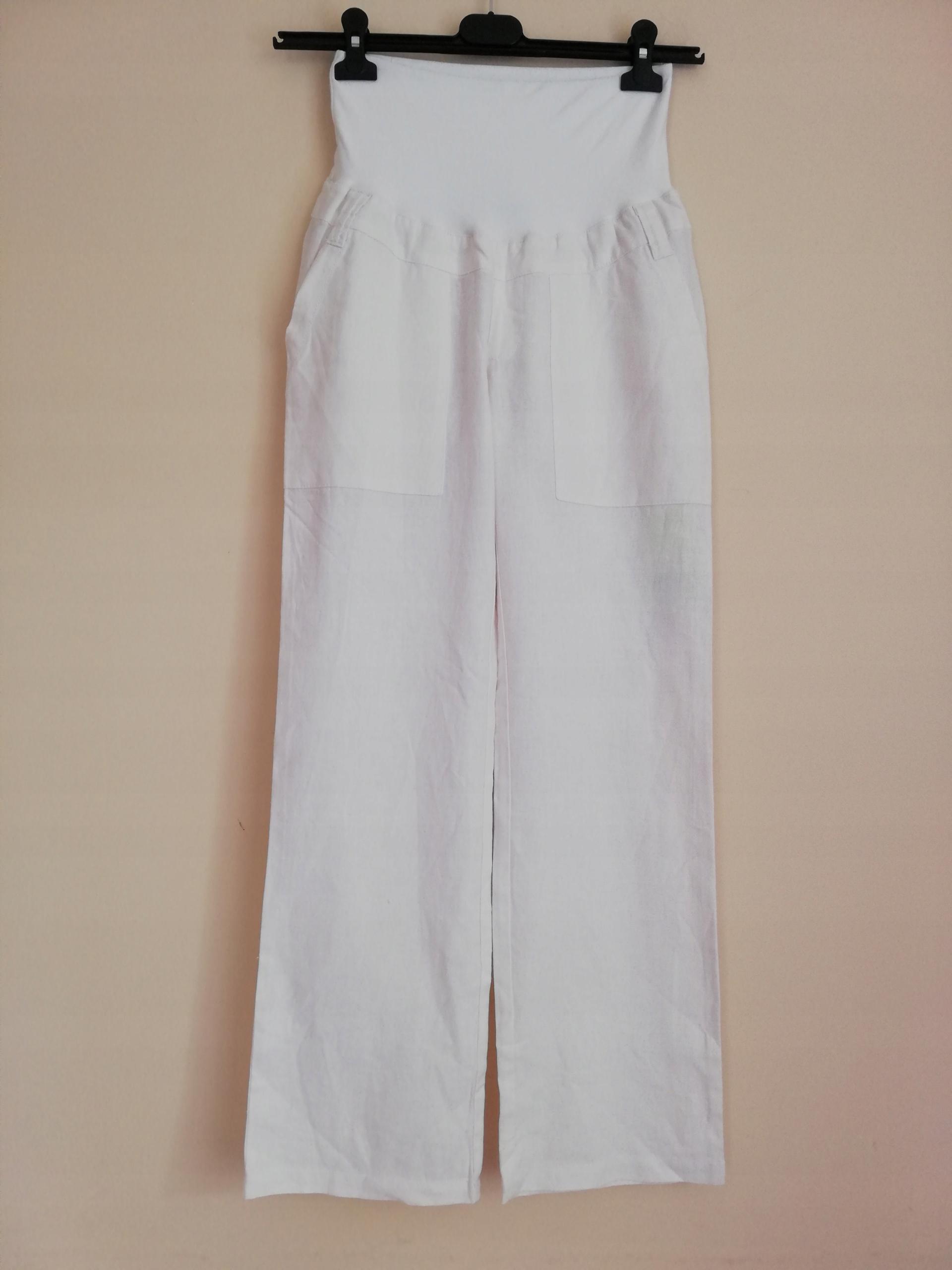 Okazja! Spodnie ciążowe Mothercare białe len 36 S