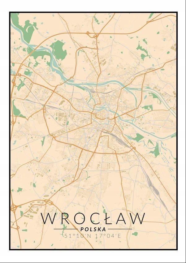 Wrocław Mapa Kolorowa Plakat 8042210323 Oficjalne