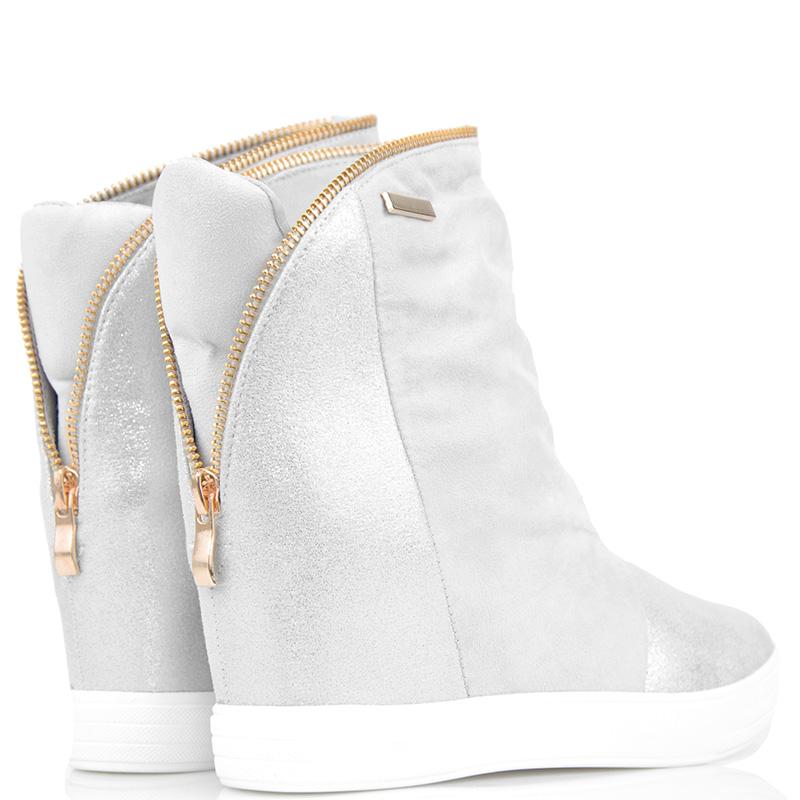 7f87c897d3e5b Szare Sneakersy - Botki na Koturnie Złoty Zamek 39 - 7209437283 ...