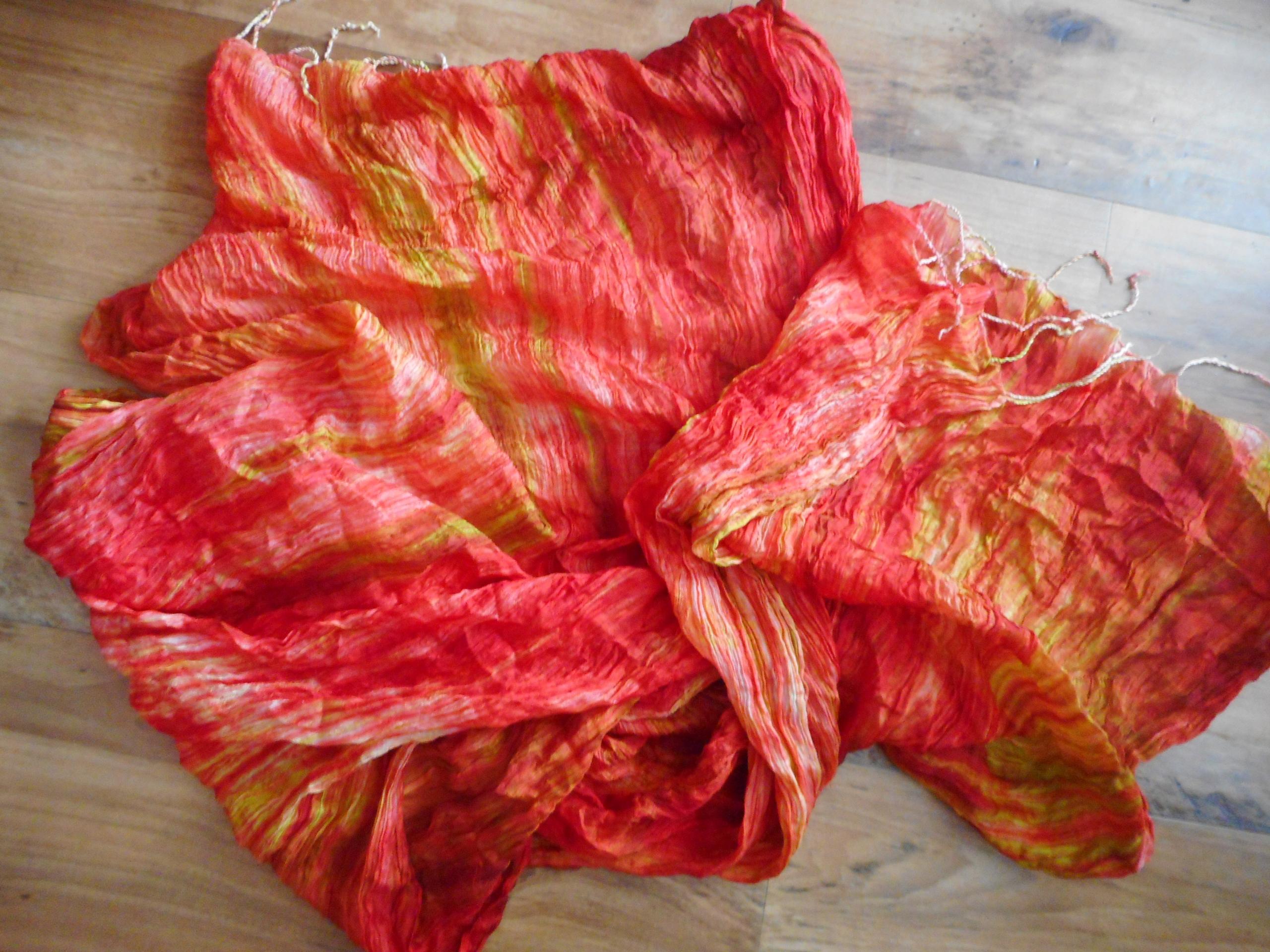 Jedwabny szal ręcznie tkany oranż zieleń