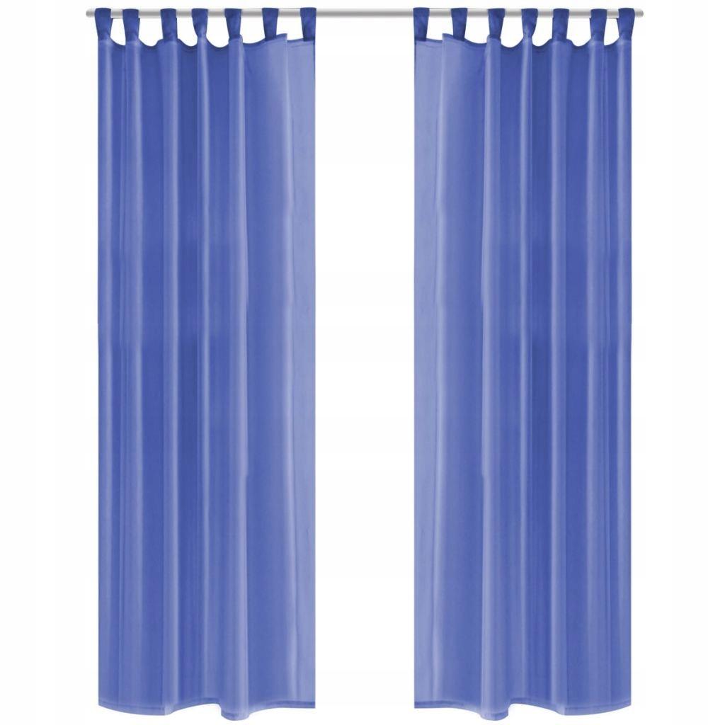 Zasłony z woalu, 2 sztuki, 140 x 245 cm, niebieski