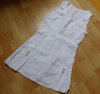 Sukienka len 100% M 38 biała