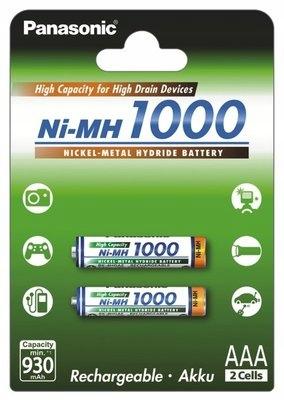 Akumulatorki Panasonic R03 AAA Ni-MH 1000mAh 2szt