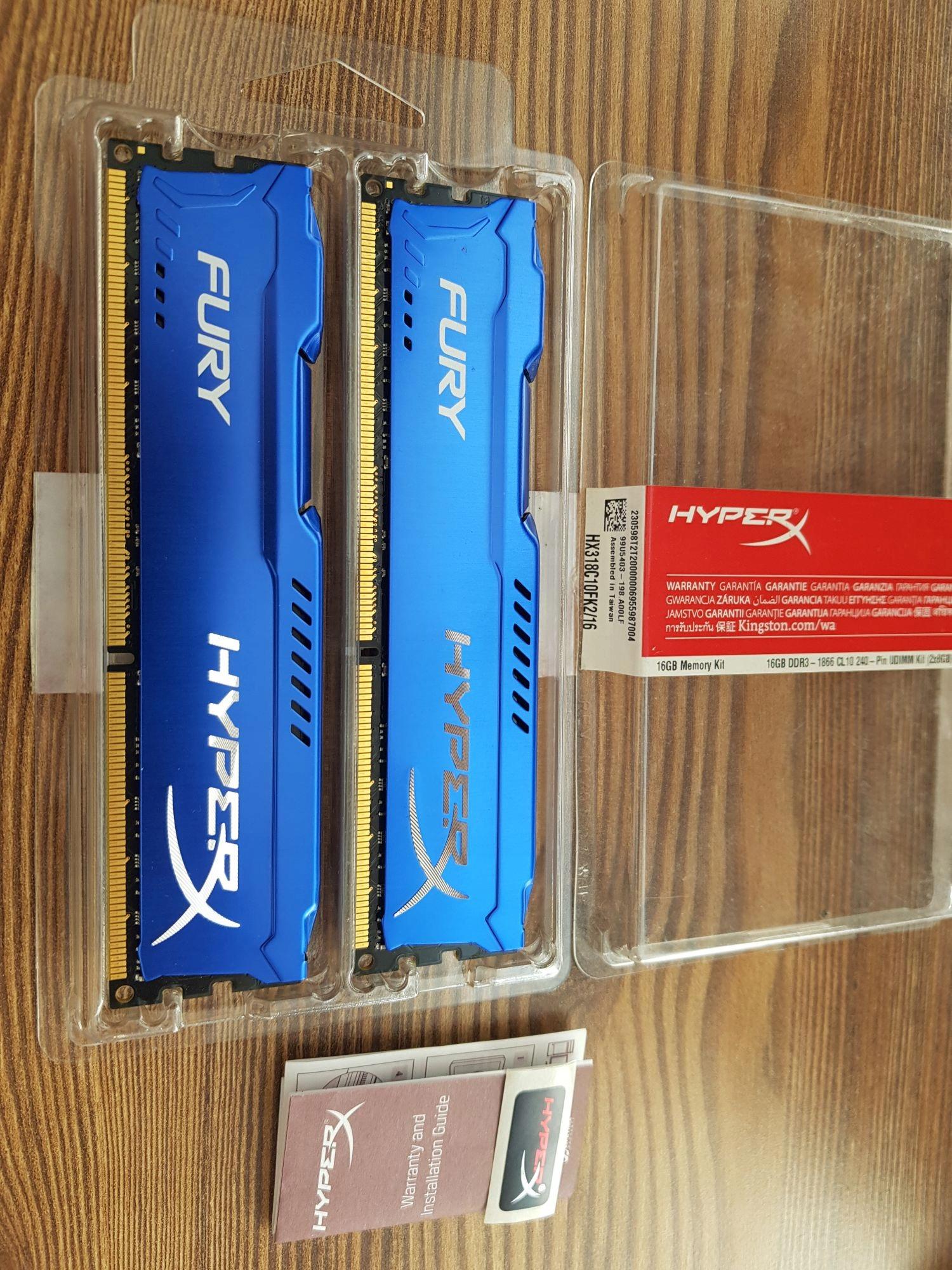 16GB KINGSTON HYPERX FURY 2x8 GB DDR3 1866 MHz L10