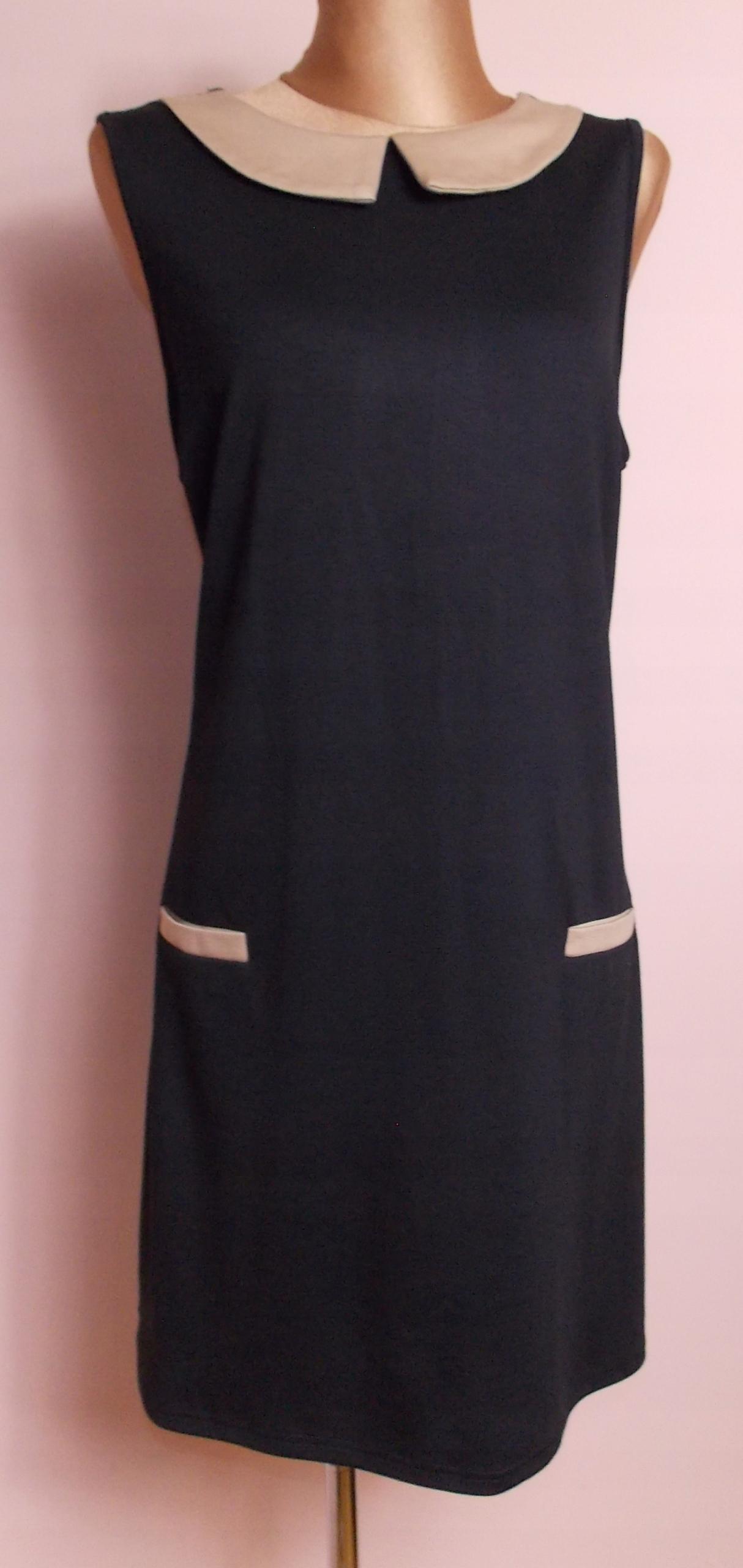 749e7cf286 sukienka PAPAYA pensjonarka kołnierzyk czarna 46 - 7651250150 ...
