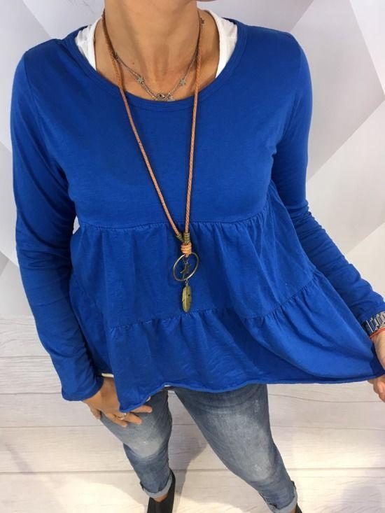 Piękna niebieska bluzka bawełna z topem - Piupiu