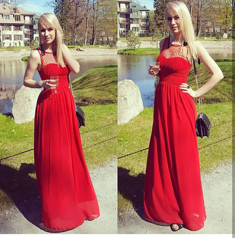 Czerwona Długa Sukienka Perełki Wesele Druhny Xxl 6978805601